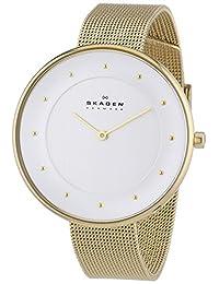 Skagen SKW2141 Women's Denmark Gitte Klassik Silver Dial Gold Tone Steel Mesh Bracelet Watch