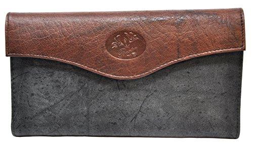 Style Black Leather Billfold Wallet - Buxton Heiress Organizer Clutch (Black/Brown)