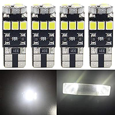 4-Pack T10 194 168 921 350Lums White Extremely Bright Canbus Error Free LED Light 12V,6500k ,9-SMD 2835 Chipsets Car Replacement Bulb For W5W 168 2825 Map Dome Courtesy License Plate Side Marker Light: Automotive