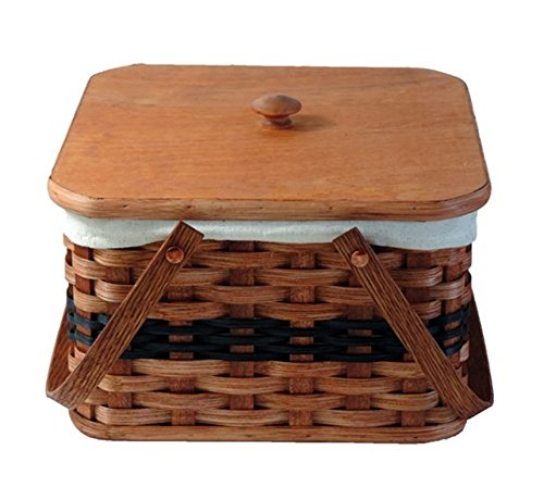 AMISH BASKETS AND BEYOND Amish Handmade Square Double Pie Basket w/Inside Tray, Lid, and Two Swinging Carrier Handles (Blue w/Liner, Large)