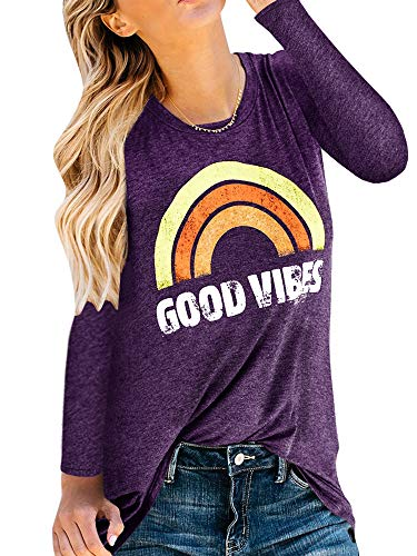 Womens Good Vibes T Shirts Long Sleeve Rainbow Print Graphic Tees Casual Tunic Tops