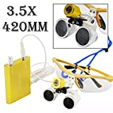Dental Dentist Surgical Medical Binocular Loupes 3.5X 420mm Optical Glass Loupe With Headlamp Light (Yellow)