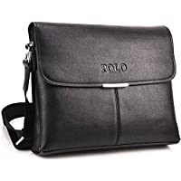 Videng Polo Messenger Bag for Men - Leather, Black