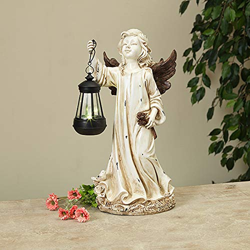 Mission Gallery Beautiful Distressed Resin Solar Lighted Angel Figurine ~ 15.75
