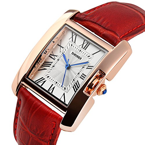 Gold Tone White Dial - Women Rectangle Watch Waterproof Rose Gold Tone White Dial Wristwatch Roman Numeral With Red Leather Band