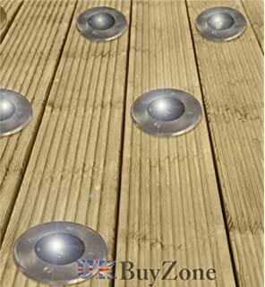Solar decking lights pack of 4 stainless steel solar powered solar powered led garden deck lights decking driveway outdoor wireless lighting 10 aloadofball Choice Image