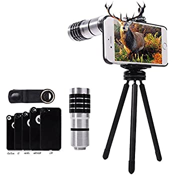 Telephoto Lens for iPhone 7/ 7 Plus/ 6/ 6S/ 6S Plus/ 5/ 5S/ 5C/ SE, Evershop iPhone Zoom Lens with Tripod + Phone Holder + Phone Case (telephoto silver)