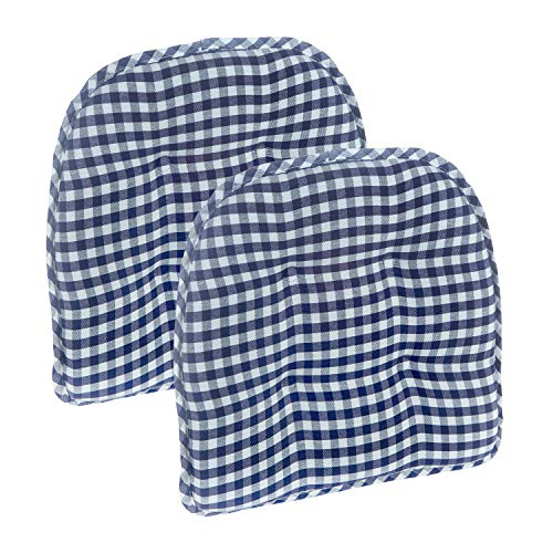 Klear Vu Gingham Tufted No Slip Dining Chair Pad, Set of 2 Cushions, 16″ x 15″, Navy