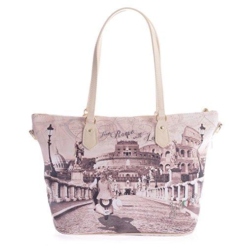 Y NO? bolso de compras de la mujer F-396 DE ROMA CON AMOR UNICA Stampa