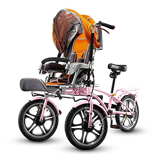 HZC Double Three-Wheeled Bicycle, Stroller Buggy Baby Child Pushchair, Foldable with Foot Switchable Bicycle, Pram Travel for Newborn and Toddler (Color : Pink)