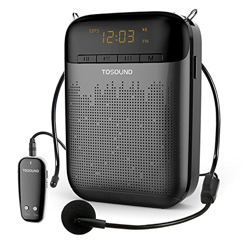( Voice Amplifier with UHF Wireless Microphone Headset, 10W 1800mAh Portable Rechargeable PA system Speaker with FM Radio, MP3 and Recording, LED Display for Meetings, Promotions, Etc(Black) )