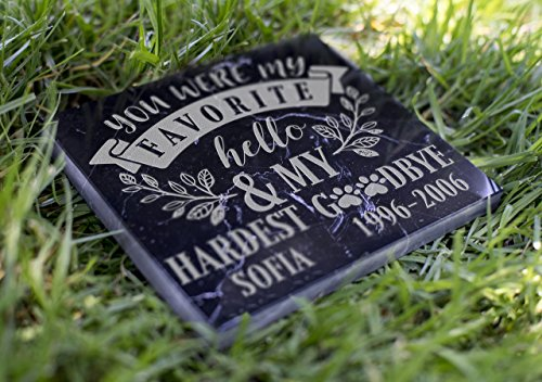 Memorial Pet Headstone - Favorite Hello and Hardest Goodbye - (Marble Grave Markers)
