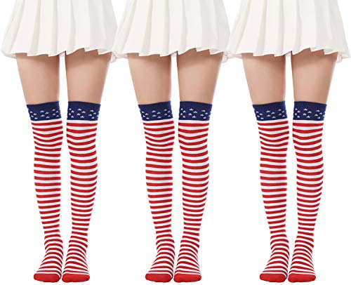 Flag long Sock American USA Knee High Christmas Socks Thigh High Patriotic Stockings (3 Pairs Flag Over Knee Socks) from JASMINO