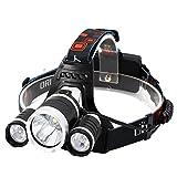 Super Bright 3 x T6 5000lm Led Headlamp, Yliyaya 4Modes Adjustable Wear Headlight Flashlight Lmap Best for Camping Cycling Hiking Outdoor Sports