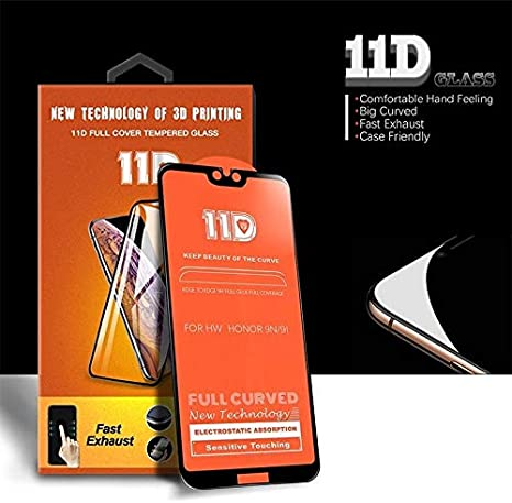 ZHANGYUNSHENG 25 PCS Scratchproof 11D HD Full Glue Full Curved Screen Tempered Glass Film for Huawei Honor 9i // 9X // 9N zys Color : Black Black