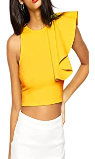 18c10fd4e43ff made2envy One Shoulder Ruffle Crop Top