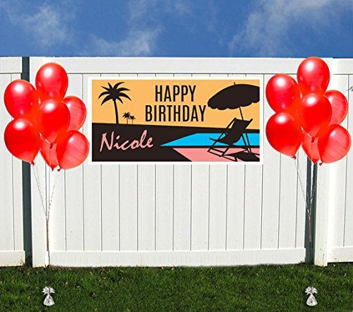 Sunset on The Beach Birthday Banner Personalized Party Backdrop