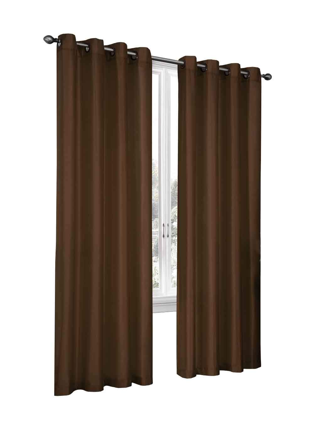 Regal Home Collections 2 Pack Semi Sheer Faux Silk Grommet Curtains - Assorted Colors (Avocado)
