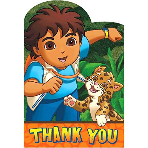 Amscan Fun Diego's Biggest Rescue Birthday Party Thank You Cards (8 Piece), 4-1/4 x 6-1/4
