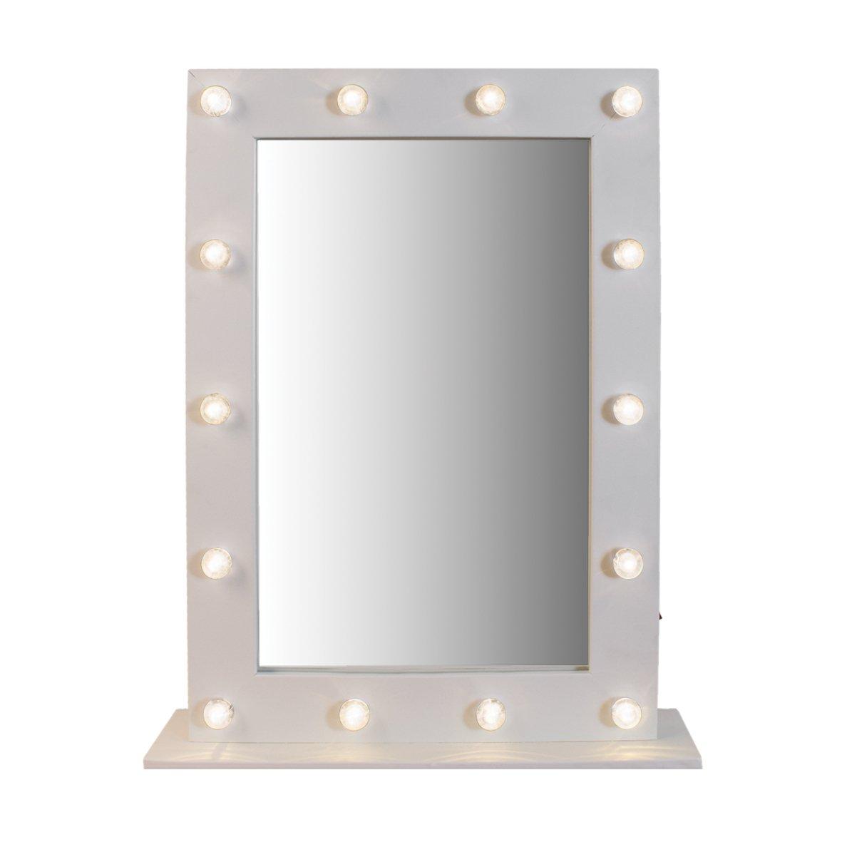 blanc chaud Anika Miroir sur pied /à LED fonctionnant /à piles