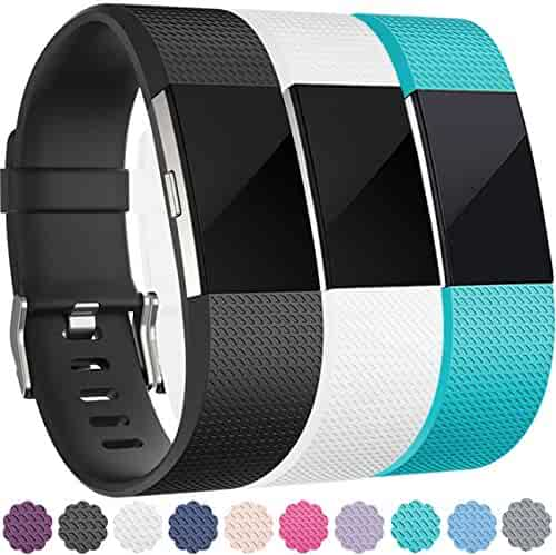 For Fitbit Charge 2 Bands, Wepro Replacement Bands Strap Wristband with Air Holes for Fitbit Charge 2 HR, 15 Colors, Buckle, Large, Small