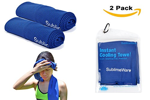 Cooling Towels - (2 Pack) Blue - Athletic Cool Cold Chill Wet Ice Microfibre Towel for Baseball Workout Sports Runner Yoga Gym Exercise Hot Flash Neck Baby Headband Sweatband By SublimeWare (30x100cm)