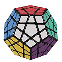 D-FantiX Shengshou 3x3 Megaminx Speed Cube Smooth Pentagonal Dodecahedron Puzzles Cube Black with Cube Stand