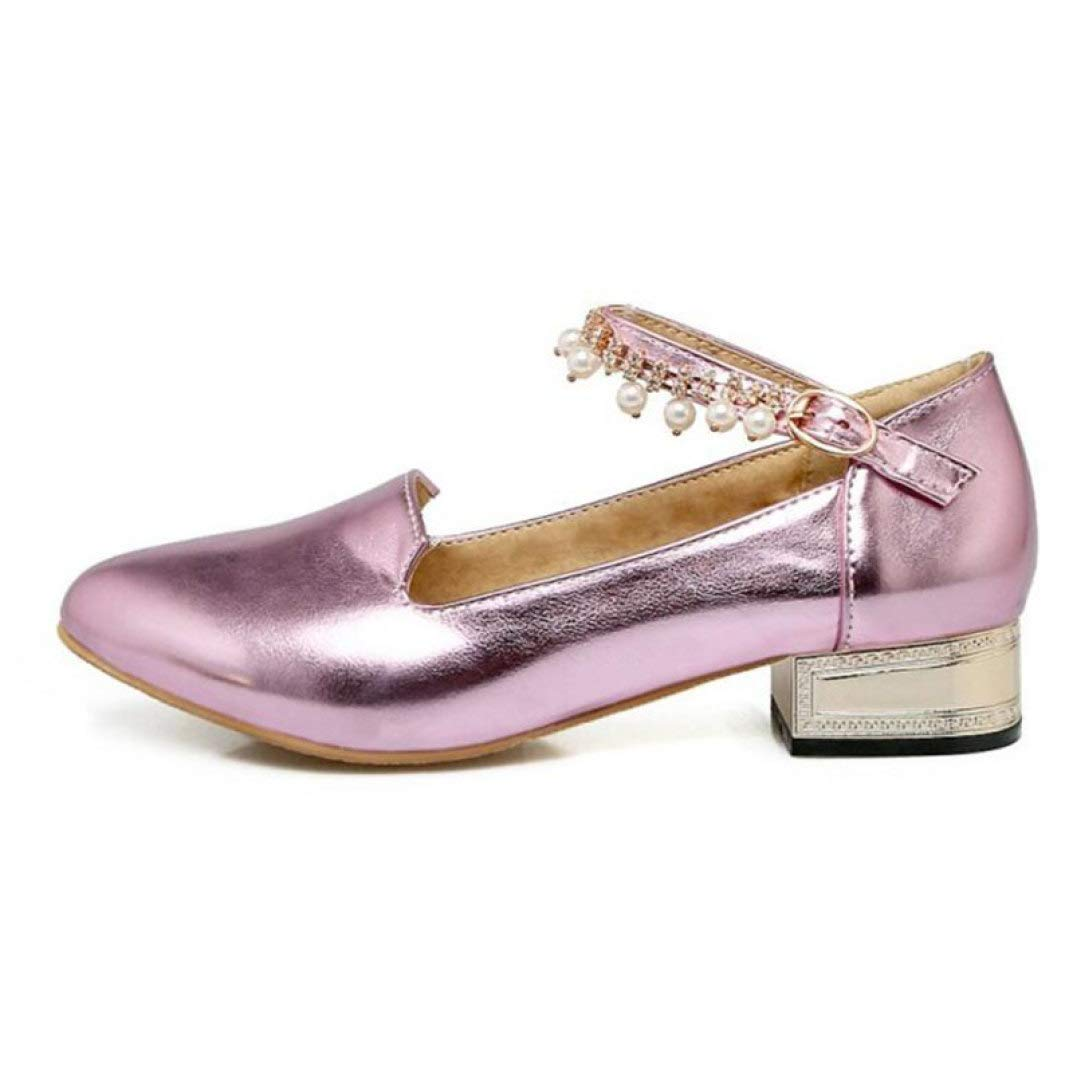 Pink DETAIWIN Women Ankle Strap Dress Oxfords PU Leather Anti-Skid Comfortable Rhinestone Buckle Fashion Pumps shoes
