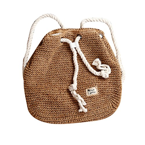 MagiDeal Dual Purpose Drawstring Crochet Rattan Shoulder Bag Backpack for Women - Brown, One Size