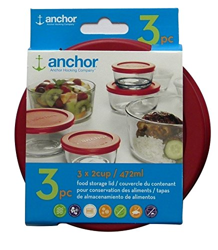 - Anchor Hocking Replacement Lid 2 Cup/472 ml, set of 3 lids, red round