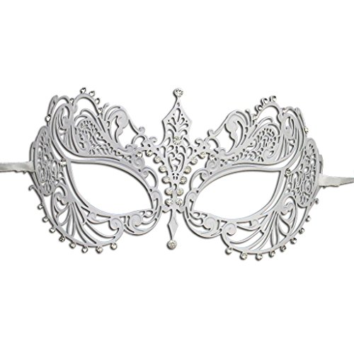Luxury Mask Women's Laser Cut Metal Venetian Pretty Masquerade Mask, White/Clear Stones, One Size -