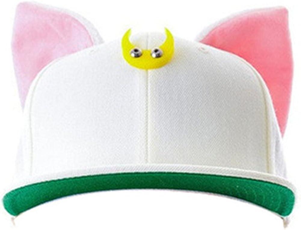 MIUNIKO Anime Sailor Moon Luna Cat Ears Hip-hop Hat Adjustable Baseball Cap Cosplay Accessories