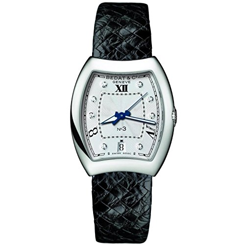 Bedat & Co Women's No.3 Diamond Black Leather Band Steel Case Automatic Silver-Tone Dial Watch 315.010.109