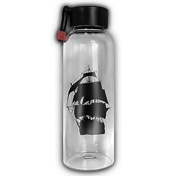 Barco pirata de cristal vasos para agua ambiental cilíndrico alta portátil botella de agua de vidrio