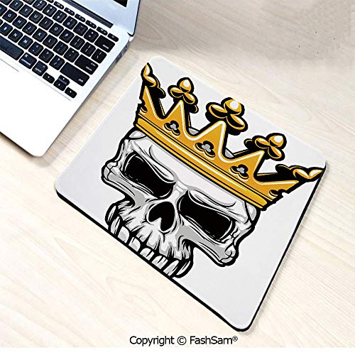 Non-Slip Rubber Mouse Pads Hand Drawn Crowned Skull Cranium with Coronet Tiara Halloween Themed Image Decorative for Computers Laptop Office(W7.8xL9.45) ()