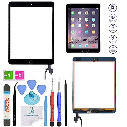OmniRepairs Glass Touch Screen Digitizer Retina Display OEM Assembly with Home Button, IC Chip Compatible for iPad Mini 3 (A1599, A1600) with Adhesive Tape, Screen Protector and Repair Toolkit (Black) (Ipad 3 Mini Screen Replacement)