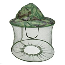 uxcell® Fishing Folding Net Hood Camouflage Sun Shading Anti Mosquito Fly Cap Army Green