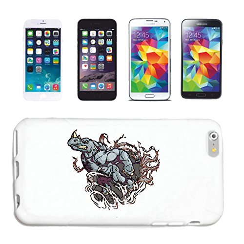 "cas de téléphone iPhone 7 ""TRÈS ANGRY RHINO RHINO RHINOCEROS RHINOZEROSS Unpaarhufer Spitzmaulnashorn"" Hard Case Cover Téléphone Covers Smart Cover pour Apple iPhone en blanc"