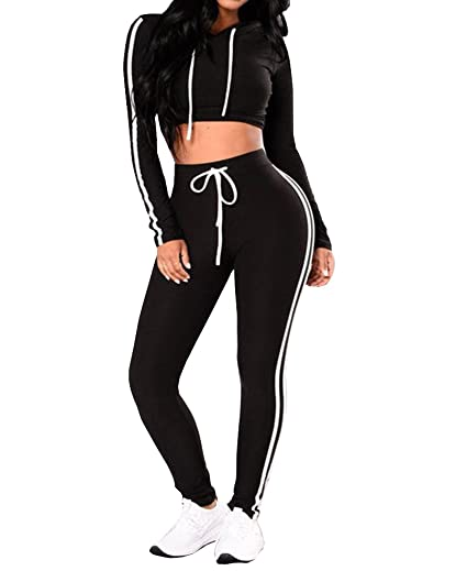 527a1de1b9ddcb Tuesdays2 Women Casual Sport Bodycon Crop Top Long Skinny Pant Set  Tracksuit (S