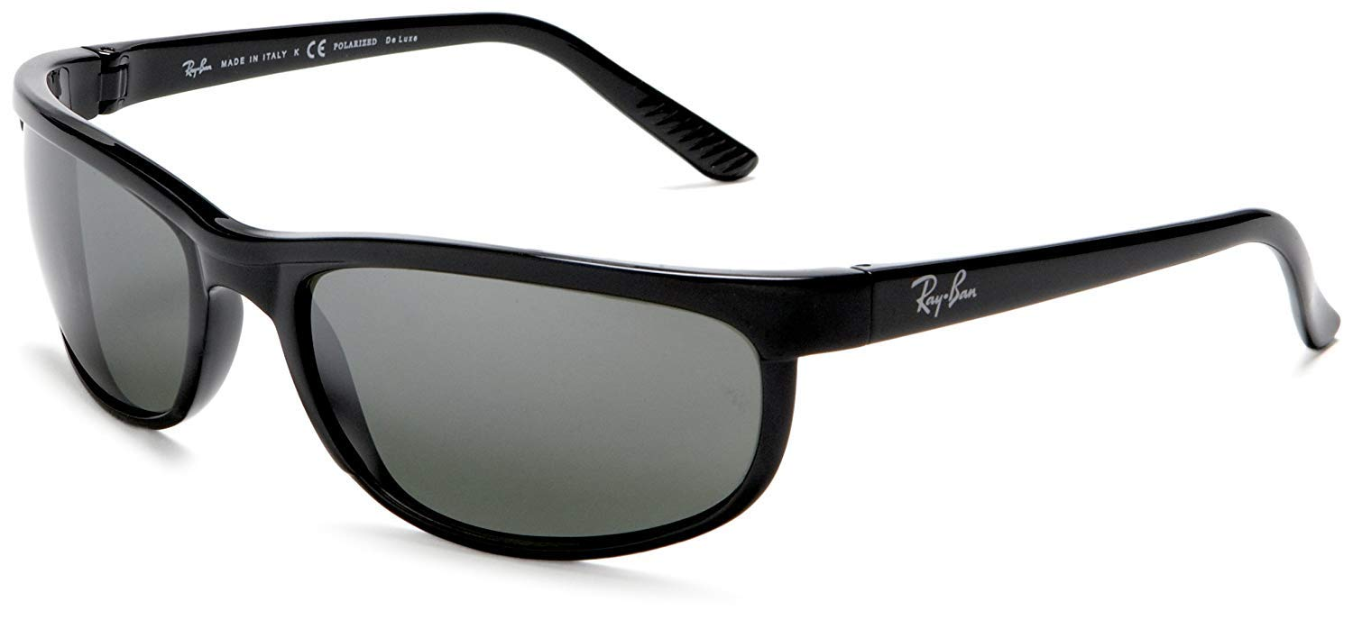 RAY-BAN Men's RB2027 Predator 2 Rectangular Sunglasses, Black/Polarized Grey Mirror, 62 mm by RAY-BAN