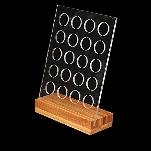 Acrylic Coffee Pod Holder Rack Capsule Storage Stand with Bamboo Base for 20pcs Nespresso Capsule by BAIYUN