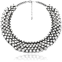 Fun Daisy Grand UK Princess Kate Middleton Hot Silver Tone Rhinestone Fashion Necklace - xl00941-S