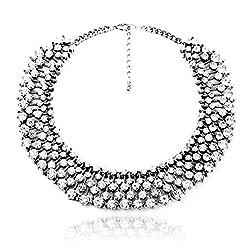Hot Silver Tone Rhinestone Fashion Necklace