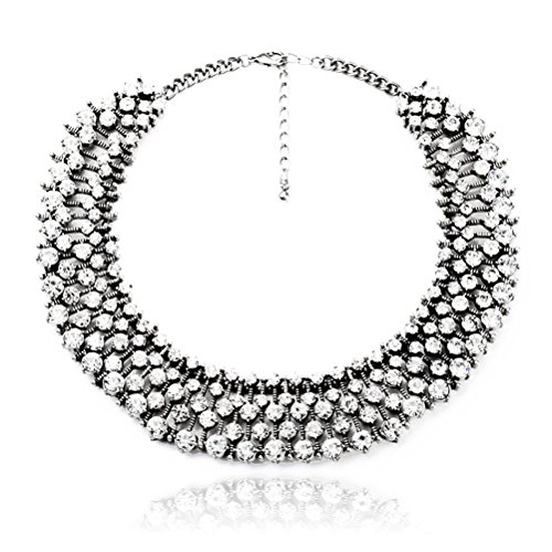 Fun Daisy Grand UK Princess Kate Middleton Hot Silver Rhinestone Fashion Necklace - xl00941-S (White Daisy Earrings)