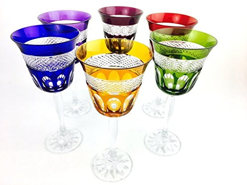 Colored Glasses Crystal Wine - Handmade Crystal Wine Glasses by Valéry Klein - Set of 6 Wine Water Colored Glasses 20cl Signed by Crystal Klein 54120 BACCARAT FRANCE - Gift