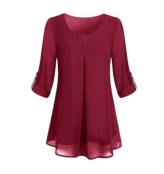 Camisetas Mujer Tunicas Elegantes Camisa De Gasa Manga Larga Cuello Redondo Moda Casual Color Solido Tul Chiffon Blusas Camiseta Tops Ropa Fiesta Moda: ...