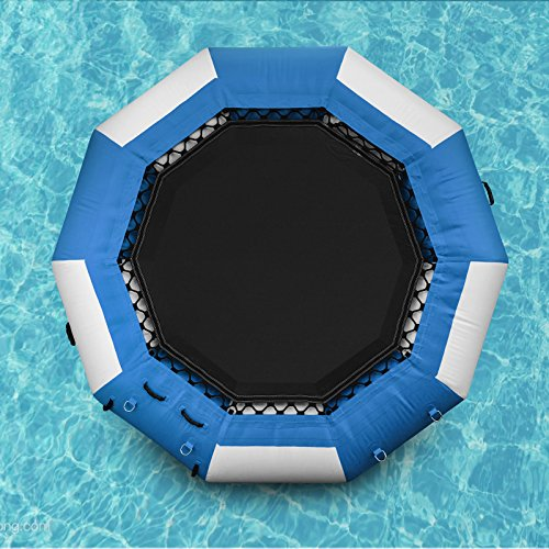 Popsport Inflatable Water Trampoline Series Splash Padded Water Bouncer Inflatable Bouncer Jump Water Trampoline Bounce Swim Platform for Water Sports (Blue, 13Ft)
