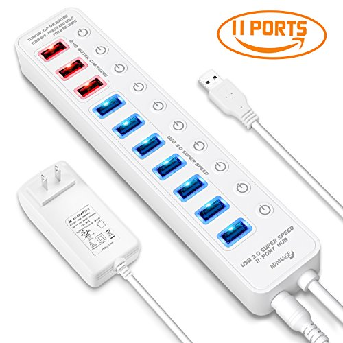 APANAGE USB 3.0 Hub, 11 ports USB Hub (7 High Speed Data Transfer Ports + 4 Smart Charging Ports) with 48W Power Adapter and Individual On/Off Switches for Mac Pro/mini, PC, HDD, USB Flash - White by APANAGE