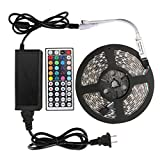 LED Strip Runbu 5-Meter Waterproof Flexible Color Changing RGB SMD5050 300 LEDs Kit with 44 Key Remote and 12V 5A Power Supply
