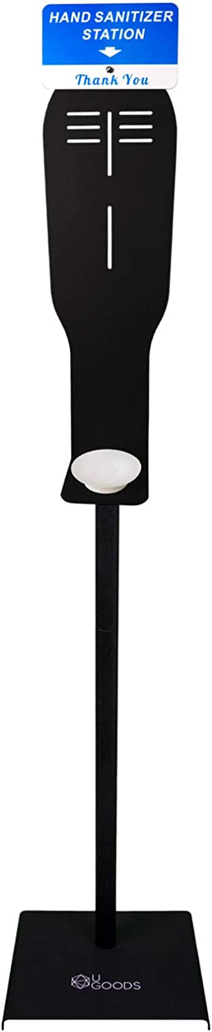 UGOODS Soap Dispenser Stand,Freestanding Adjustable Floor Stand for Hand Sanitizer Dispenser,with Spill Lip and Weighted Base,Ideal for Home and Public Use,Black